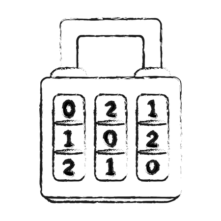 dial pad: monochrome blurred silhouette of combination padlock with square body vector illustration Illustration