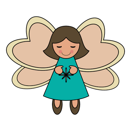 white background with decorative angel vector illustration