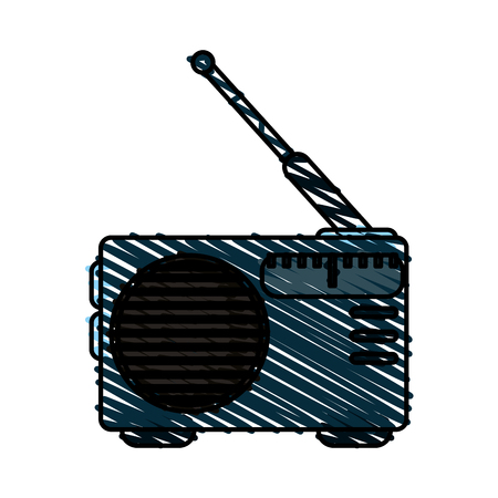 colorful crayon silhouette of portable radio vector illustration Illustration