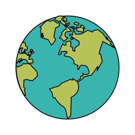 global communication: white background with planet earth vector illustration Illustration