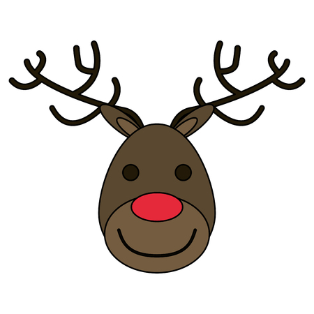 wild venison: white background with face of reindeer with red nose vector illustration Illustration