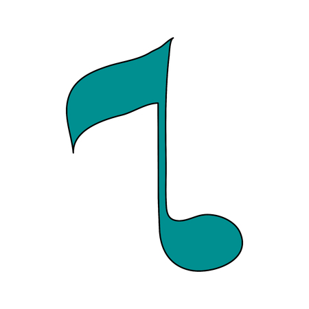 white background with sign eighth note vector illustration