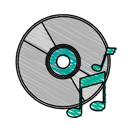 cd label: colorful crayon silhouette of music compact disc vector illustration