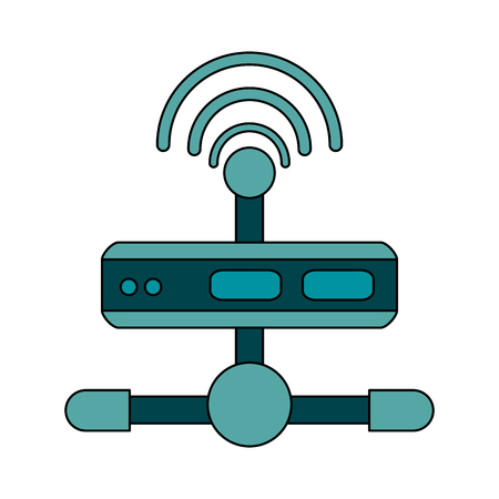 white background with wireless router network vector illustration Illustration