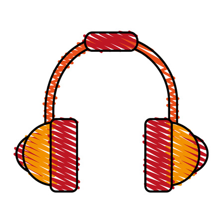colorful crayon silhouette of headset stereo sound vector illustration