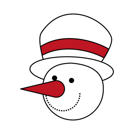 color silhouette image of face of snowman with hat vector illustration Illustration