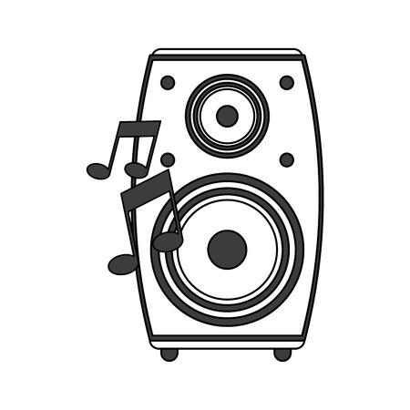monochrome silhouette image of loudspeaker in wood box vector illustration