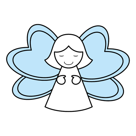 color silhouette image of decorative angel vector illustration