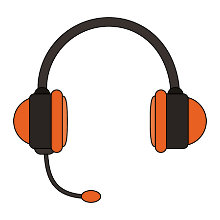 white background with handsfree headset vector illustration