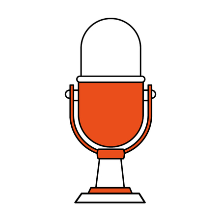 color silhouette image of desk microphone of fixed base vector illustration Illustration