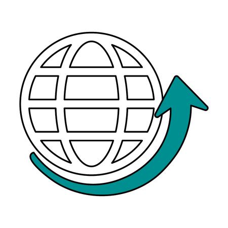 imagen de la silueta de color de la tierra del globo con paralelas y meridianos y la ilustración de vector de fondo de flecha Vectores