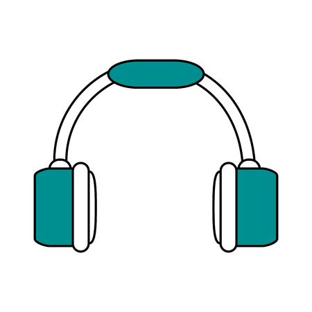 portable audio: color silhouette image of headset stereo sound vector illustration