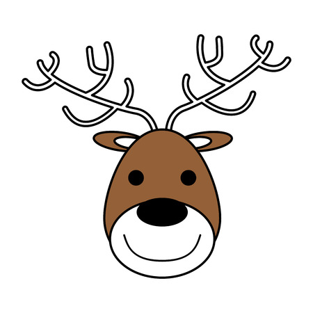 color silhouette image of face of reindeer vector illustration