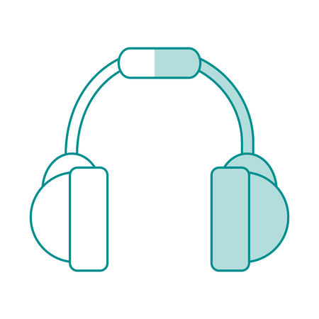 blue shading silhouette of headset stereo sound vector illustration