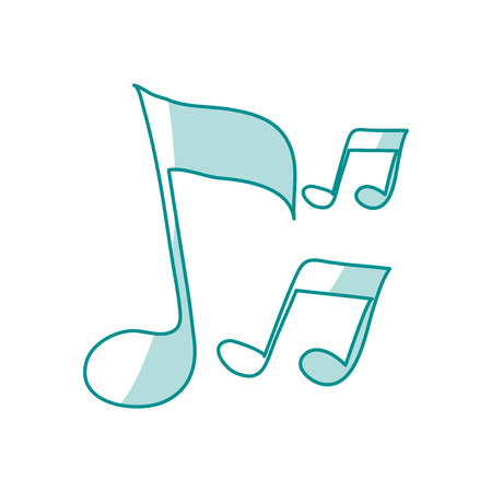 40: blue shading silhouette of musical notes vector illustration