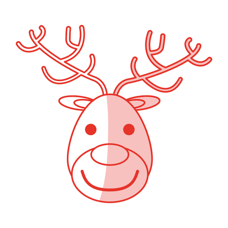 red shading silhouette of face of reindeer vector illustration