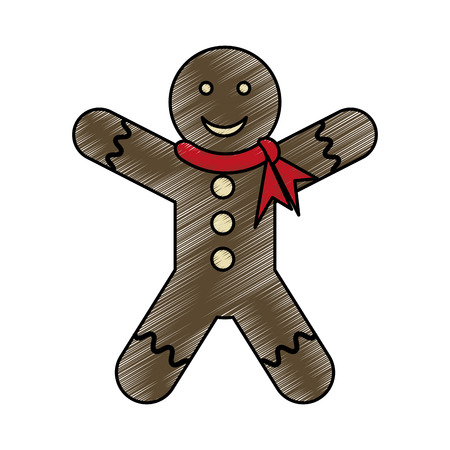 homemade bread: colorful crayon silhouette of gingerbread man with scarf in neck vector illustration Illustration