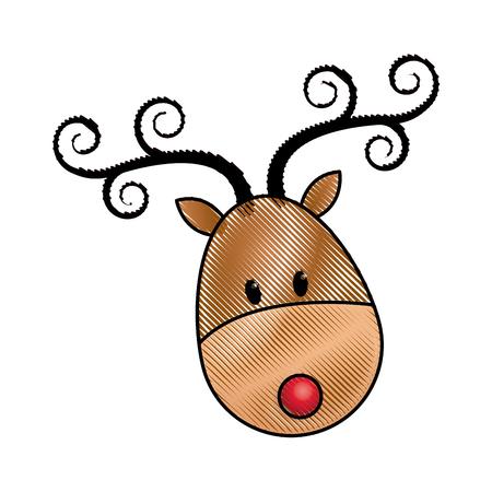 santaclause: happy cartoon christmas reindeer character vector illustration