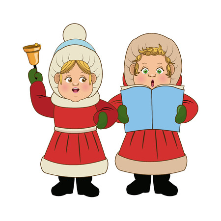 carolers: cartoon woman christmas caroling with song book and bell vector Illustration