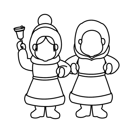 carolers: children christmas caroling with song book and bell vector Illustration