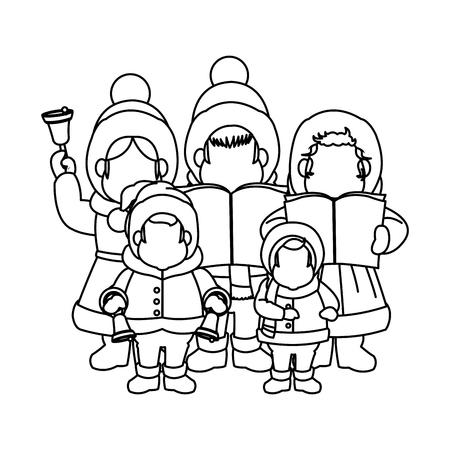 group of people chorus singing christmas songs. vector illustration