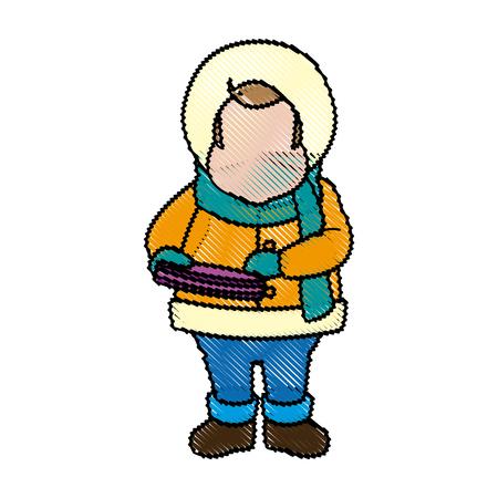 carols: character man carols singer at a winter clothes vector illustration