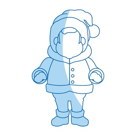 character man carols singer at a winter clothes vector illustration