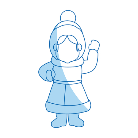 carols: cartoon woman christmas song winter clothes vector illustration Illustration