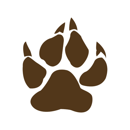 Brown Bear Paw With Claws Vector Illustration Background And Text