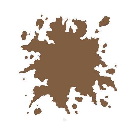 disaster: brown splash color paint abstract design vector illustration Illustration