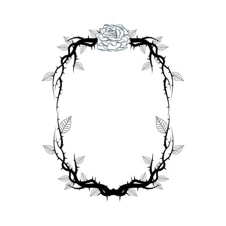 vintage branch thorns leaves decoration rustic vector illustration  イラスト・ベクター素材
