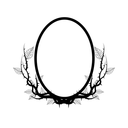 vintage branch thorns leaves decoration rustic vector illustration 向量圖像