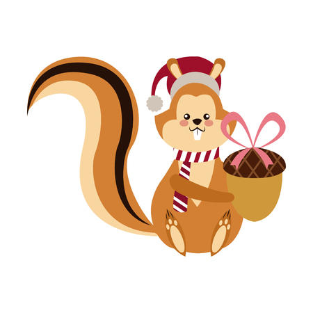 cute squirrel with acorn christmas hat cartoon vector illustration