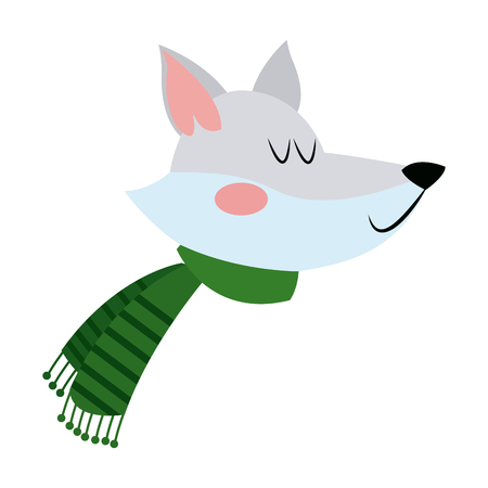 face fox with a scarf. christmas animal celebration vector illustration