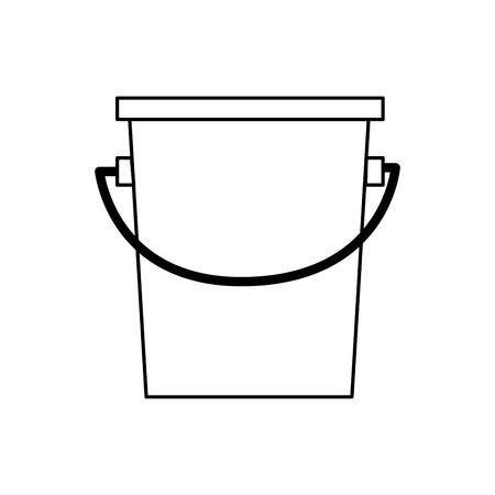 bucket fishing equipment object outline vector illustration Illustration
