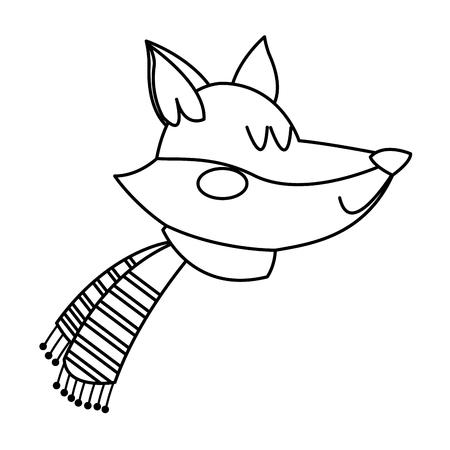 fox with a scarf. christmas animal celebration vector illustration