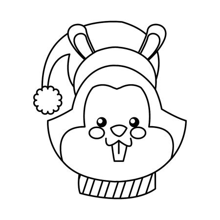 cartoon face squirrel christmas scarf image vector illustration