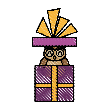 cute christmas owl in gift box with ribbon bow vector illustration