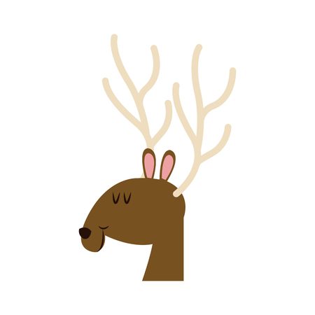 christmas face reindeer horns image vector illustration Illustration
