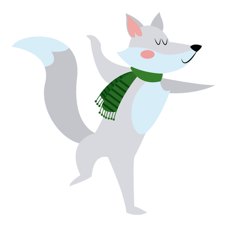 fox with a scarf. christmas animal celebration vector illustration