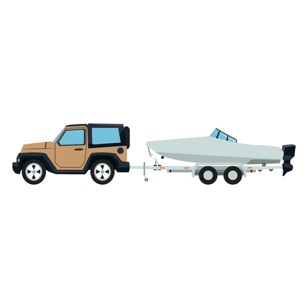jeep car with boat over trailer vector illustration