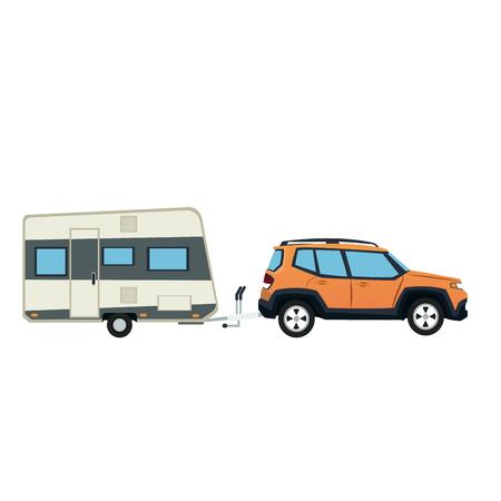 suv car and trailer camping adventure travel vector illustration Illustration