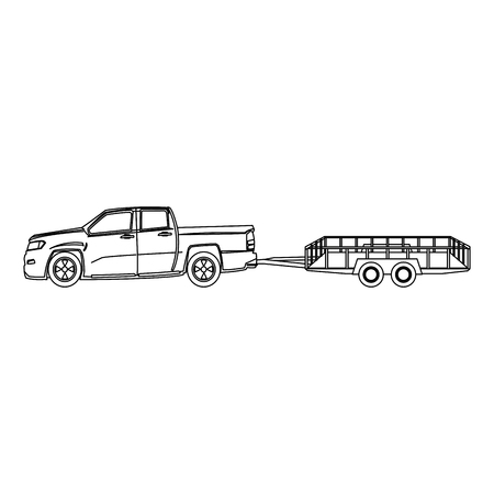 Pickup truck and dump trailer work transport vector illustration