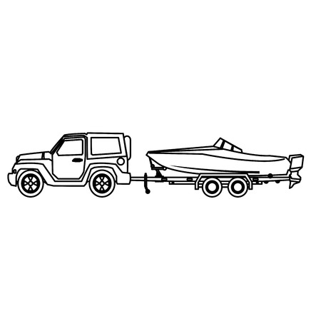 jeep, voiture, à, bateau, sur, remorque, vecteur, Illustration