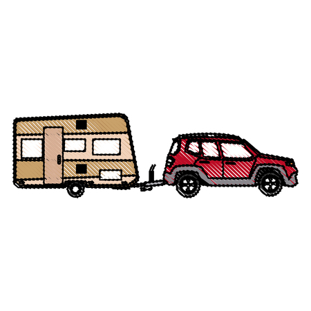 drawn suv car camper trailer travel transport vector illustration