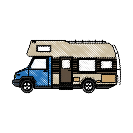 Mobile Home Park Truck Camper Travel Transport Image Vector Illustration