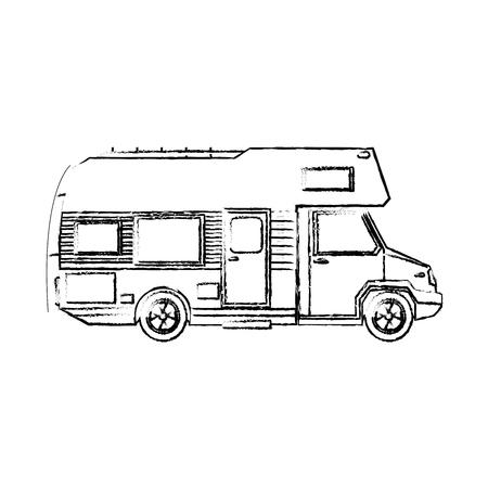 truck camper home travel transport image vector illustration Ilustração