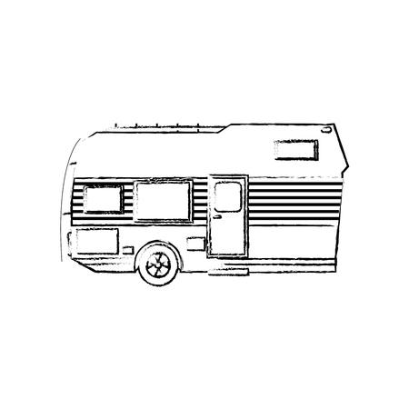 Trailer Camping Transport Recreation Tourism Vector Illustration