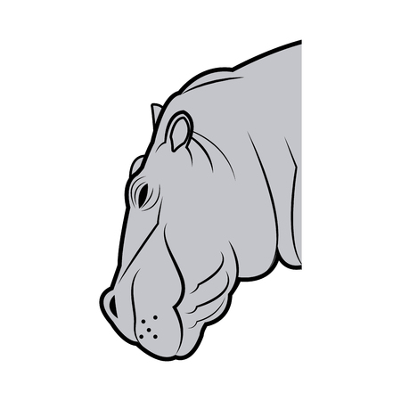 hippo head animal naturalist wildlife style, vector illustration Illustration