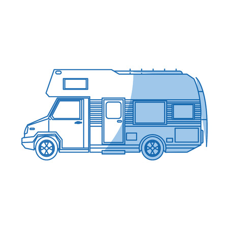 truck camper home travel transport image vector illustration Illusztráció